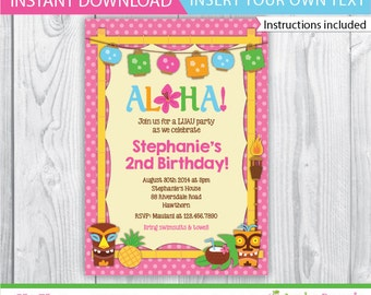 birthday luau invitations / luau invitation / printable luau invitations / luau invite / kids luau invitation / INSTANT DOWNLOAD