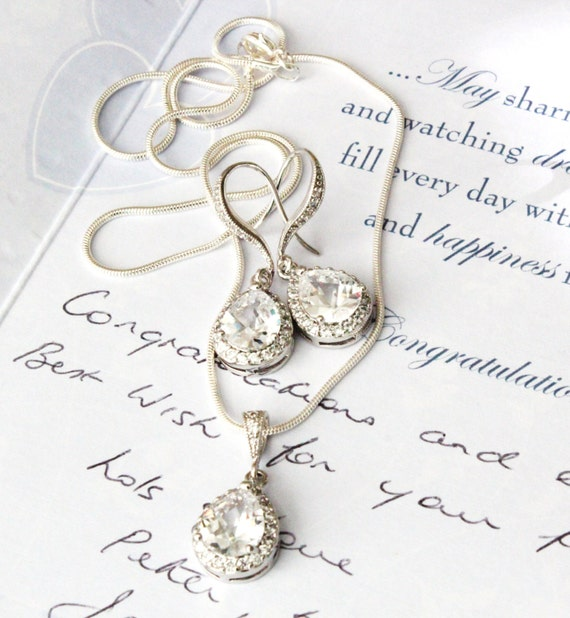 Wedding Jewellery Gift Sets : Wedding Jewellery Set Bridesmaid Gift Set Bridesmaid Jewelry Silver ...