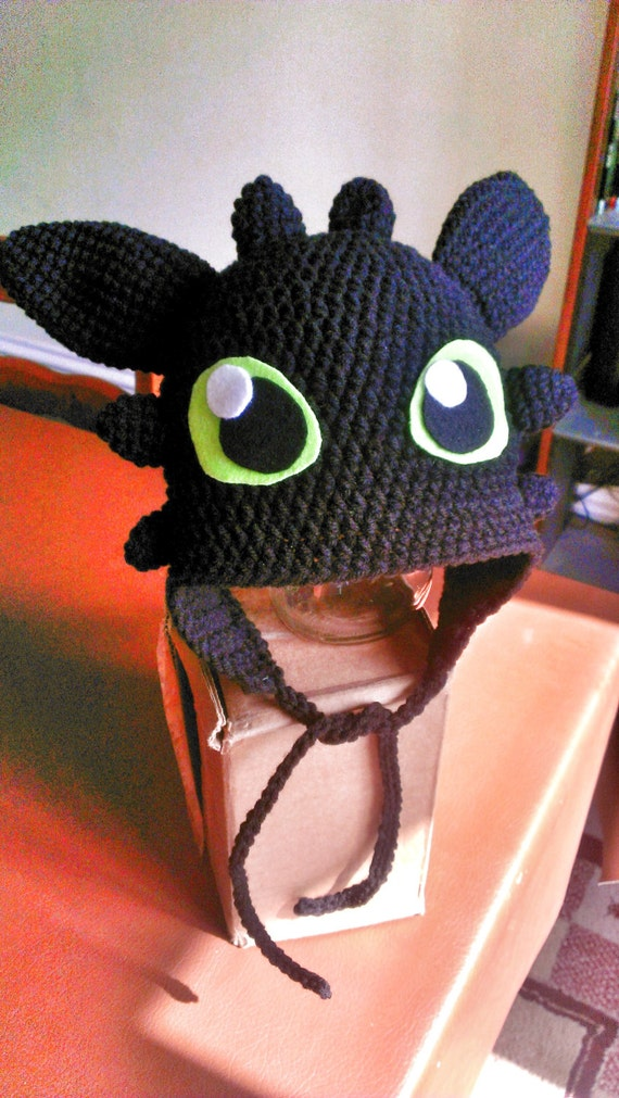 Free Crochet Pattern For Toothless The Dragon : Crochet Dragon Hat Inspired by Toothless