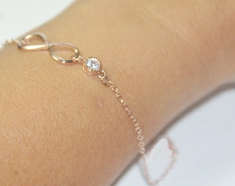 Wedding bracelet, Infinity bracelet,rose gold jewelry.,CZ Diamond,bridal shower,engagement, bridal jewelry, bridal shower gift,bridal gifts,
