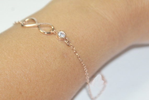 hochzeit armband infinity armband rose gold schmuck cz. Black Bedroom Furniture Sets. Home Design Ideas