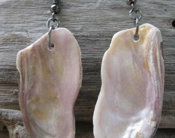 Purple and Orange Shell Dangle Earrings