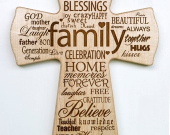 Wooden Cross - Engraved - Home Decor - FAMILY
