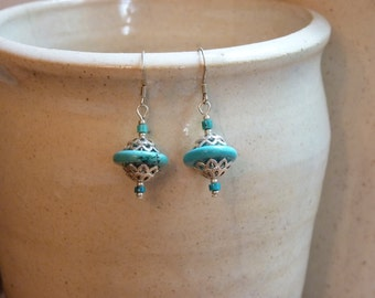 Turquoise and Silver Radial Earrings