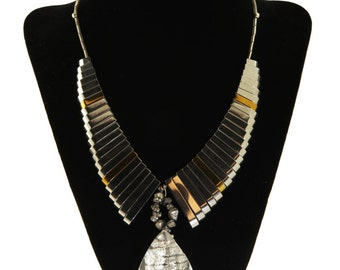 """Titanium hematite and crystal silver necklace. 22"""" length."""