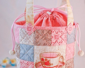 Cute Patchwork Quilted Tote with Teacups and Drawstring Cover