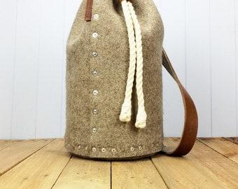 Mens backpack / Felt Backpack, Duffle bag / Duffel bag, Gift for Him - Backpack for Men - Felt Rucksack for men