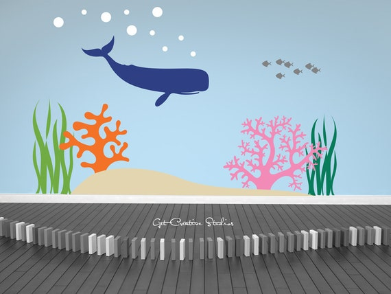 Whale Decal Ocean Wall Decal Coral Reef Decal Fish Decals