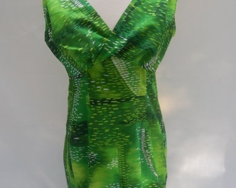 Vintage 60s-70s Lime Green Hawaiian Scoop-back Maxi Dress (with a train!)