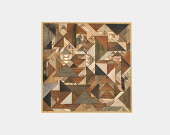 Reclaimed wood geometric wall panel - modern rustic geometric art and decor