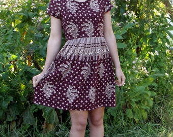 Bohemian Ethnic Dress with Short Sleeves, from Batik Fabric, with Triangle Cut-Out on Back