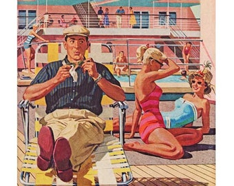 1950's Cruise Ship Deck Scene -DIGITAL IMAGE- Happy Man by Swimming Pool - Girls in Swim Suits - Craft Supply- Immediate Download!