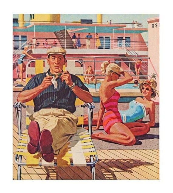 Instant Pool Decks : S cruise ship deck scene digital image happy man by