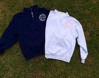 Monogram Quarter Zip Sweatshirt For Women