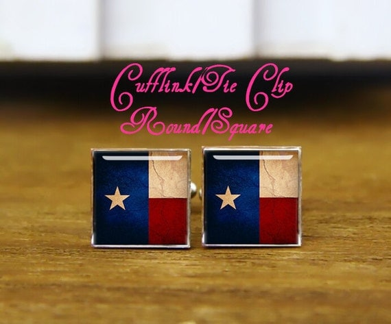 custom wedding square cufflinks, vintage Flag of Texas cufflinks & tie clip, custom flag cufflinks, Vintage Map of Texas with State Flag