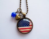 American Flag - Pendant Necklace - Patriotic Jewelry - Custom Jewelry - July 4th Necklace - You Choose Bead and Charm - Stars and Stripes