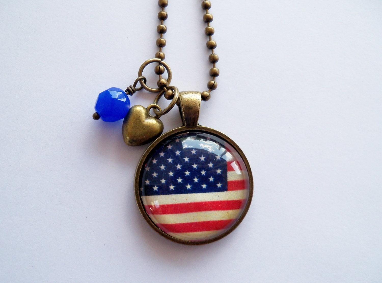 American Flag Pendant Necklace Patriotic Jewelry Custom