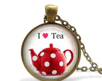 Teapot Necklace, Red Teapot Jewelry, I love tea jewelry necklace, Tea cup pendant, Red teapot picture necklace, Tea lover jewelry necklace