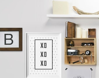 Love Typography xo xo xo print - love print - love poster - romantic gift