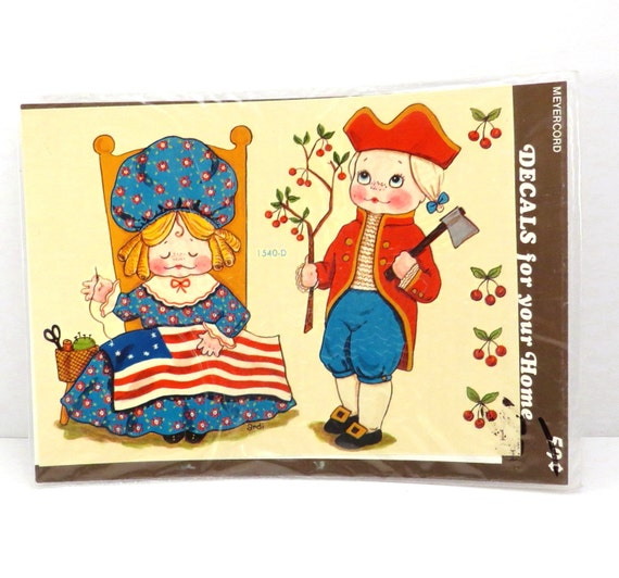 George washington and betsy ross meyercord retro vintage for Telephone mural 1970