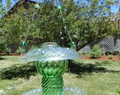 Eye Catching Vintage & Upcycled Green Glass Bird Feeder and Sun Catcher w/ Beaded Accents