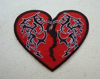 Tribal Heart Iron On Embroidered Patch Biker Tattoo Punk Rock Patches