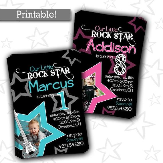 Rock Star Birthday Party Invitation BoyGirl Super Star – Rockstar Party Invites