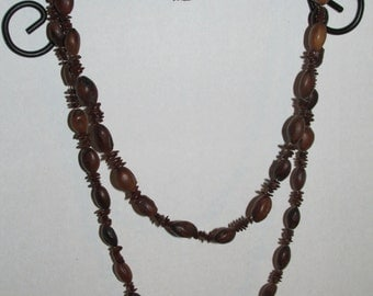 Vintage Long Brown Seed Necklace NATURAL Jewelry Costume Jewelry