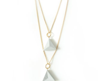 Double Triangle Concrete Necklace; Long Concrete Triangle Necklace