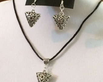 Tibetan Triangle Earrings and Necklace