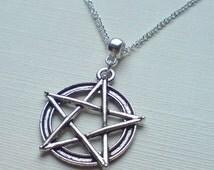 Antique Silver Pentagram Necklace Silver Pentacle Necklace Wicca Necklace Pagan Necklace Talisman Necklace