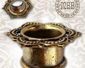"Antiqued Brass Lotus Tunnels Tribal Ornate Plugs 6g, 4g, 2g, 0g, 00g, 1/2"", 14mm 9/16"", 5/8"" - 1 inch Ear Gauges Double Flared Plug Gauge"