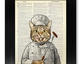 Cat KITCHEN Decor Art, CAT Art Print, COOKING Art, Kitchen Artwork, Funny