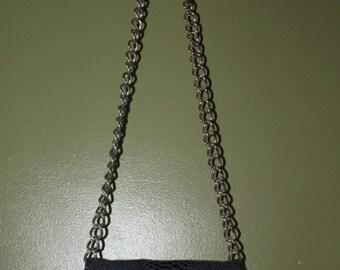 black JJ Winters leather snakeskin envelope clutch/ crossbody w/ chain strap