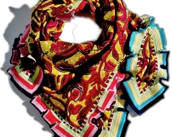 African frost ogunmola - big, beautiful cloth from original Waxprint from Ghana, crochet in the Switzerland