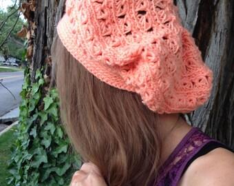 Crochet Hat - Slouchy - Handmade - Peach