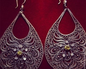 Filigree earrings made of copper with cubic zirconia, handmade
