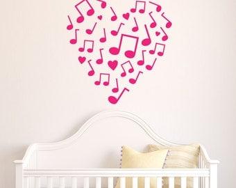 Musical Notes Heart Design Vinyl Wall Decal