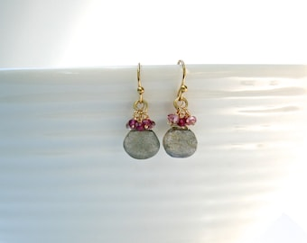 Labradorite and Garnet drop earrings with gold ear wire Graystone studio
