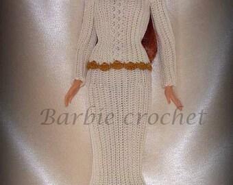 Cream crochet dress for Barbie
