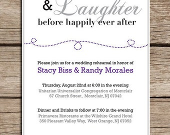 Printable Rehearsal Dinner Invitation, Made to order, Many color options, Downloadable File, Wedding