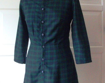 Handmade retro style tartan shirt dress with three quarter length sleeves and peter pan collars.