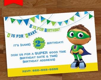 Super Why Birthday Invitation