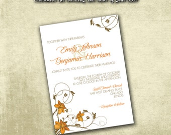 Printable Wedding Invitation ONLY PDF Instant Download - Elegant Orange Autumn Daffodils Floral Pattern (Choose Your Text Colors!)