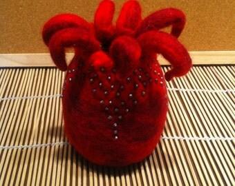 Hand felted merino sea anemone vessel.