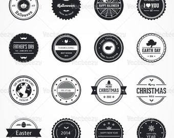 Black & White Holiday Vector Badges