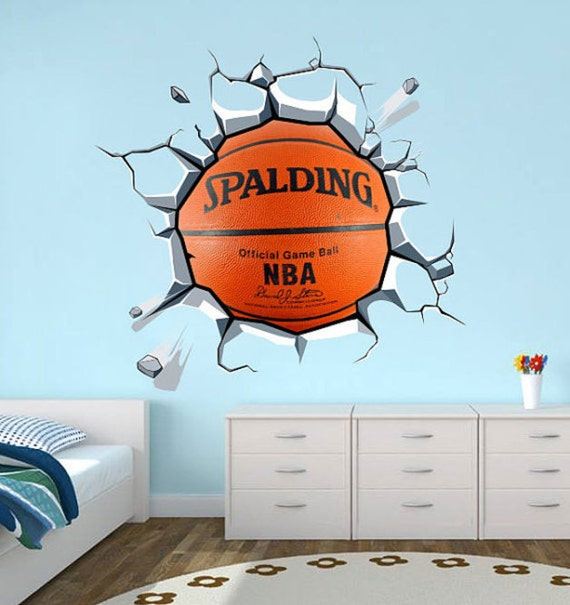 Wrecking basket ball decal basketball wall sticker - Comely pictures of basketball themed bedroom decoration ideas ...