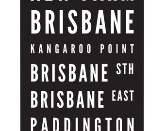 Tram Scroll / Bus Scroll - featuring suburbs of Brisbane, Queensland.