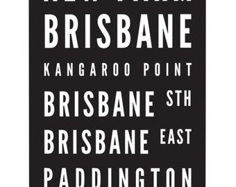 Tram Scroll / Bus Scroll - featuring suburbs of Brisbane, Queensland.