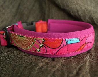 Neoprene padded dog Collar *PINK POPPY FLOWER*